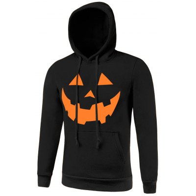 Kangaroo Pocket Drawstring Hallowmas Black Hoodie Men