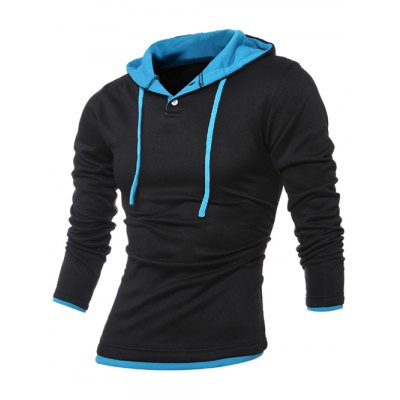 Contrast Trim Button Up Drawstring Hoodie