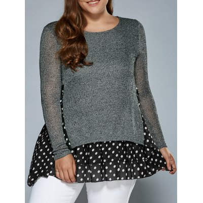 Knitted Polka Dot Layer Look Dress
