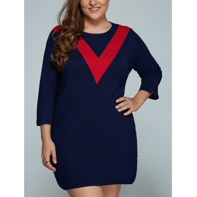 Plus Size V Shape Block Knit Dress