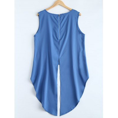 High Low Slit Tank TopPlus Size Tops<br>High Low Slit Tank Top<br><br>Material: Polyester<br>Clothing Length: Long<br>Sleeve Length: Sleeveless<br>Collar: Round Neck<br>Style: Fashion<br>Season: Fall,Spring,Summer<br>Pattern Type: Solid<br>Weight: 0.135kg<br>Package Contents: 1 x Tank Top