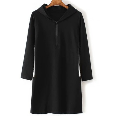 Zippered Contrast Side Slit Hoodie