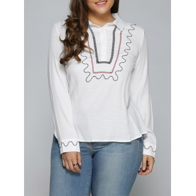 Plus Size Embroidered Trim Shirt
