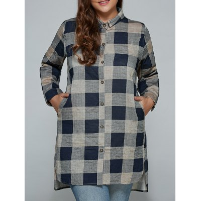 Plus Size Linen Long Plaid Boyfriend Shirt