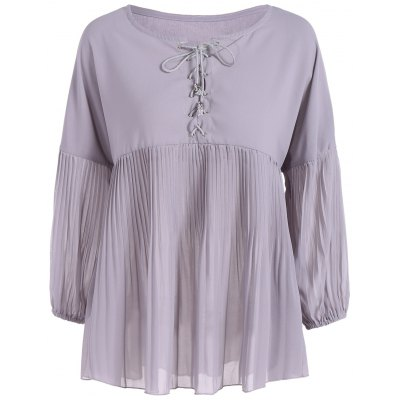 Plus Size Lace-Up Pleated Blouse