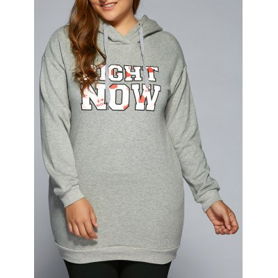 Right Now Print Long Pullover Hoodie