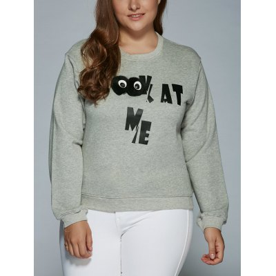 Kat Me Letter Oversized Sweatshirt with 3D Eyes