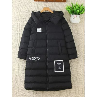 Real Deal Plus Size Pompon Hodded Puffer Jacket