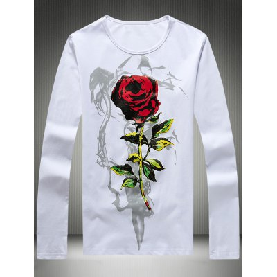 Plus Size 3D Rose Print Round Neck Long Sleeve T-Shirt