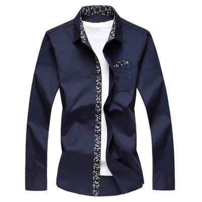 Plus Size Floral Print Edging Long Sleeve Shirt