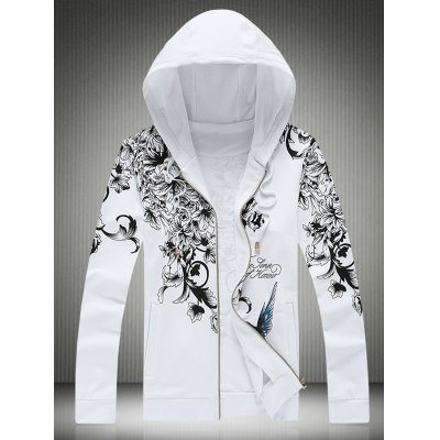 Plus Size Hooded Bird and Floral Print Zip-Up Hoodie