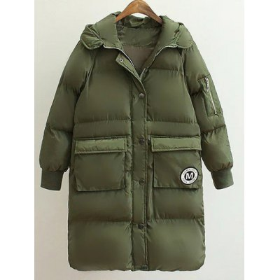 Patched Puffer Coat
