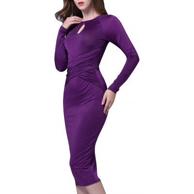 Keyhole Cross Ruched Bodycon Dress