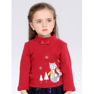 Thicken High Neck Bowknot Cartoon Printed Long Sleeve T Shirt