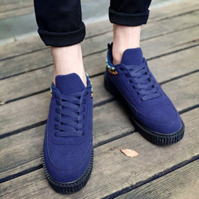 Lace-Up Geometric Pattern Suede Casual Shoes