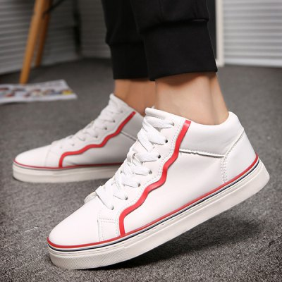 Colour Spliced PU Leather Tie Up Casual Shoes