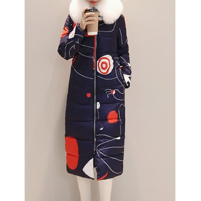 Patterned Hooded Zipped Coat