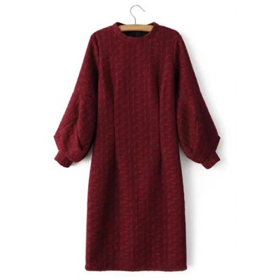 Cable Knitted Lantern Sleeve Slimming Dress