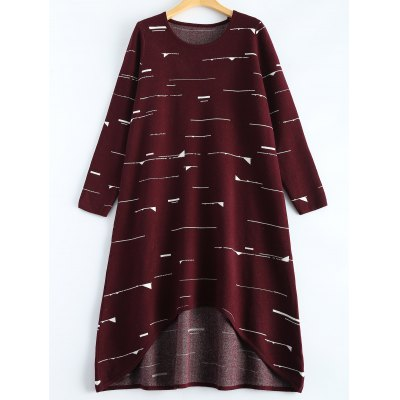 Small Flag Pattern Knit High Low Dress