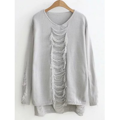 High-Low Ripped Sweater
