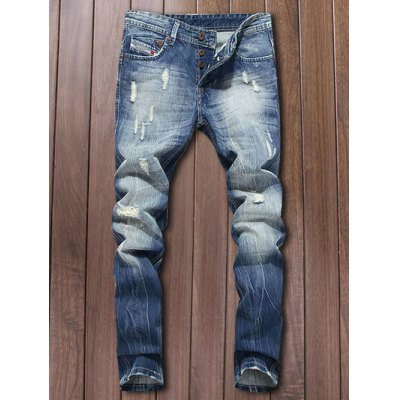 Button Fly Narrow Feet Ripped Jeans