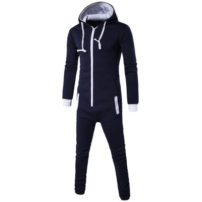 Zip-Up Color Block Hooded Jumpsuit