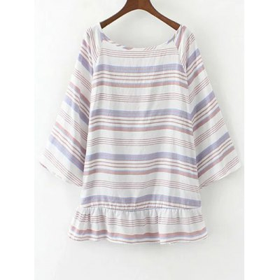 Flared Sleeve Striped Tunic Top