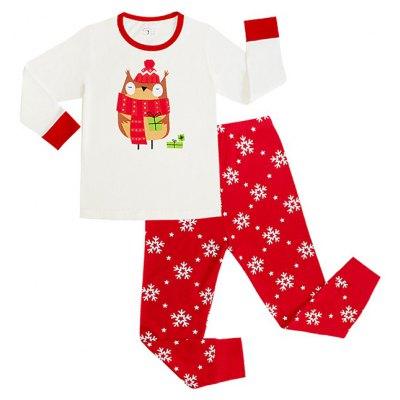 Christmas Cartoon Pattern Long Sleeves Long Pants Pyjamas Sets