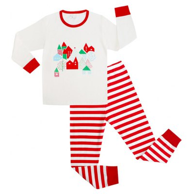 Christmas Colorful House Long Sleeves Striped Pants Pajamas Twinset
