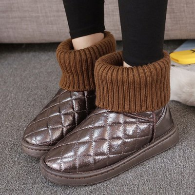 Splicing Knitting Argyle Pattern Snow Boots