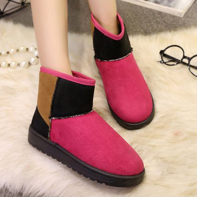 Flock Colour Block Flat Heel Snow Boots