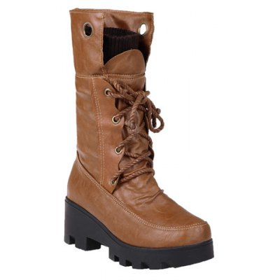 Wedge Tie Up Mid Calf Boots