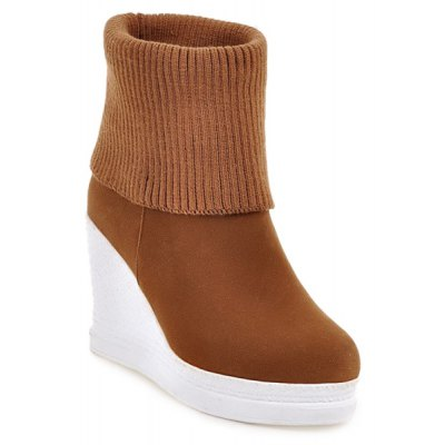 Fold Over Wedge Knit Sweater Ankle Boots