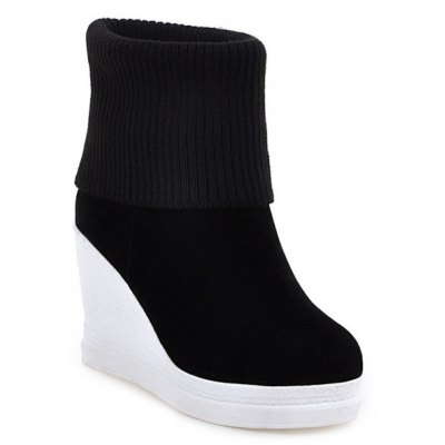 Fold Over Wedge Suede Knit Sweater Ankle Boots