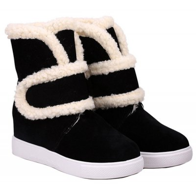 Increased Internal Hook and Loop Plush Fleece Ankle Boots