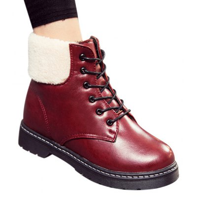Flat Winter Warm PU Leather Ankle Boots