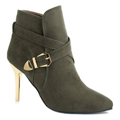 Stiletto Heel Point Toe Cross Strap Buckle Suede Ankle Boots