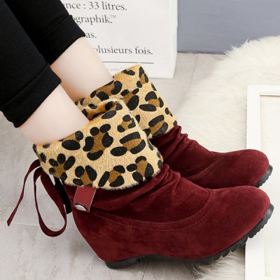 Increased Internal Fold Over Tassels Leopard Suede Ankle Boots