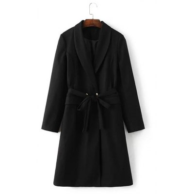 One Buckle Front Pockets Belted Woolen Coat