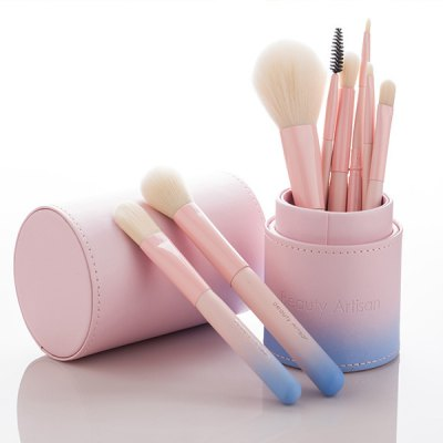 8 Pcs Facial Makeup Brushes Set With Ombre Brush Holder