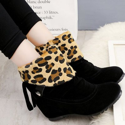 Fold Over Increased Internal Leopard Suede Ankle Boots