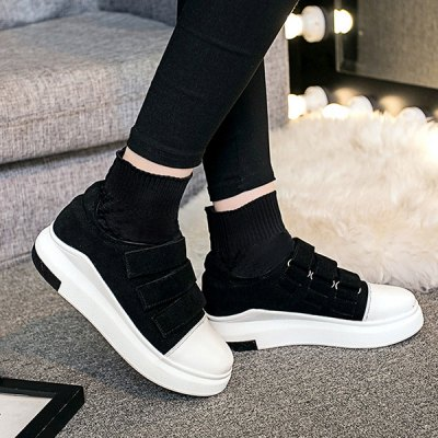 Hook and Loop Suede Knit Ankle Boots
