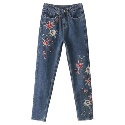 Straight Leg Embroidered Jeans