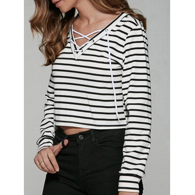 Striped Print Lace Up T-Shirt