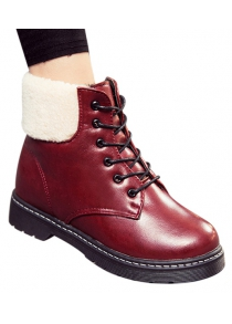 Winter Warm PU Leather Tie Up Ankle Boots
