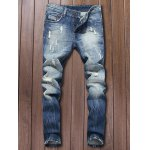 Button Fly Five-Pocket Narrow Feet Ripped Jeans
