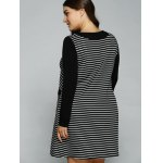 Plus Size Double Pockets Striped Dress for sale