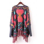 cheap Batwing Sleeve Fringed Ribbed Sweater