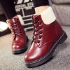 cheap Winter Warm PU Leather Tie Up Ankle Boots