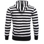 cheap Striped Zip Up Black and White Hoodie Mens